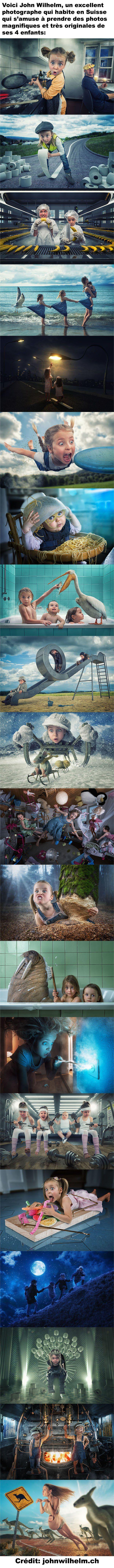 Le photographe John Wilhelm a pris 20 photos très originales et créatives de ses 4 enfants