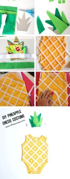 This handmade pineapple baby costume is super simple to make. All you need is a yellow onesie, some felt, and a glue gun or a sewing machine.