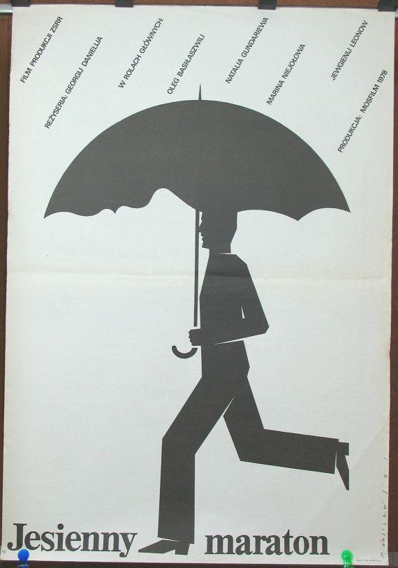 Poster Autumn Marathon. Russian (USSR – Soviet Union) film by Georgiy Daneliya 1979. Polish graphic artist Mieczyslaw Wasilewski 1979 Comedy
