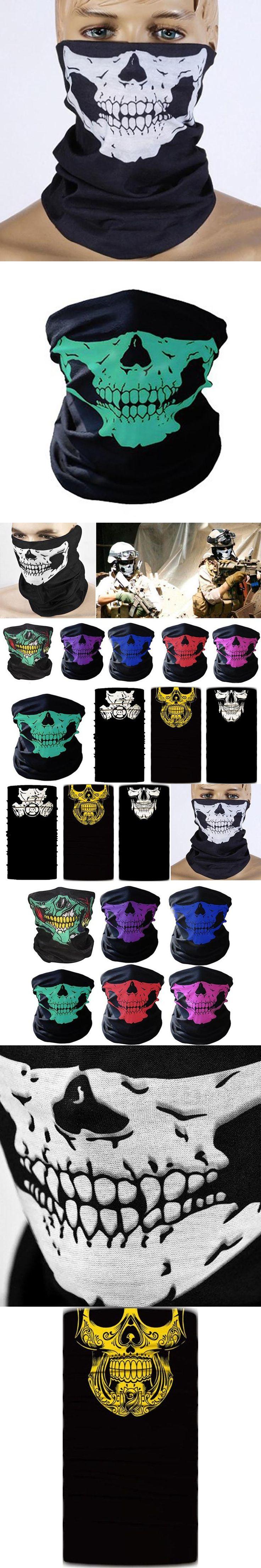 Mayitr Skull Face Mask Beanie Scarf Dust Mask Helmet Neck Paintball Bandana Halloween Outdoor Tactical Face Mask 10 Colors