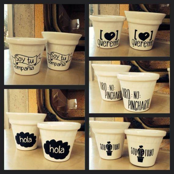 Macetas porcelana frases tipográficas - Macetas - Casa - 517780