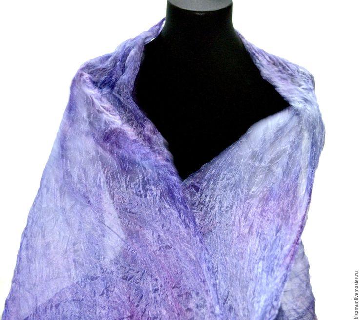 Купить шарф шелковый лавандово сиреневый ручная окраска натуральный шёлк - шарф шелковый, шарф большой