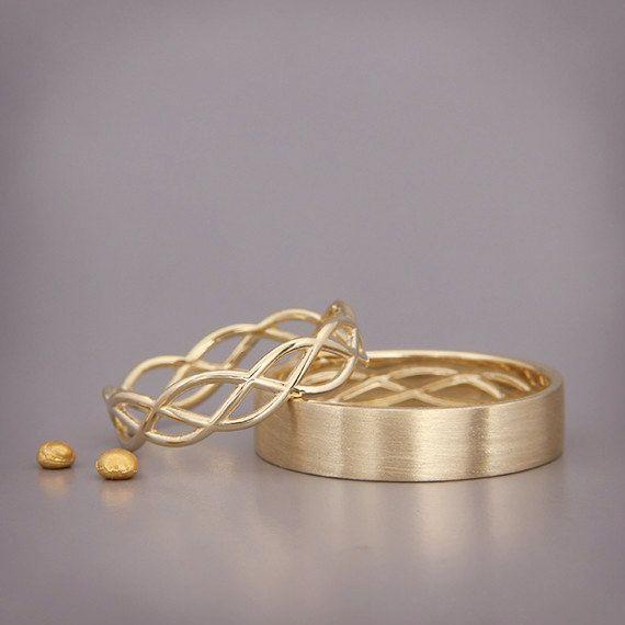 VENTA Navidad en julio 14K oro eternidad boda anillos Set