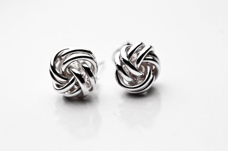 "Sterling Silver Love Knot Earrings Studs 10mm ""Knotty"" 