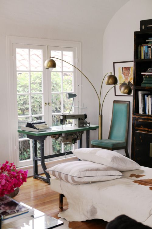 .: Sewing Machines, Indian Summer, Chairs, Interiors, Work Spaces, Workspaces, Old Sewing Machine, Floors Lamps, Style At Home