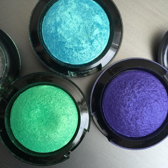 Bold Baked Eyeshadow Bundle Three bold baked eye shadows. Used twice with plenty of bold color left. Hot Topic Makeup Eyeshadow
