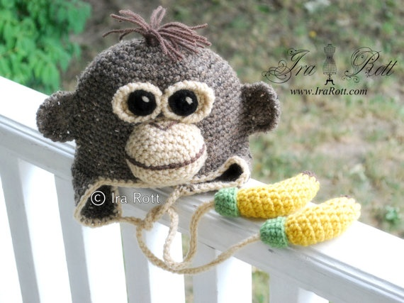 Handmade Crochet Orangutan Hat with Banana Ties  visit us at www.irarott.com