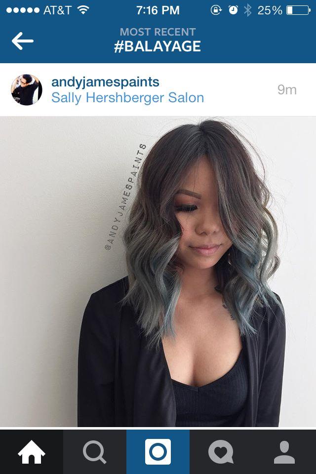 Below shoulder length lob, blue grey ombre   Short hair ...