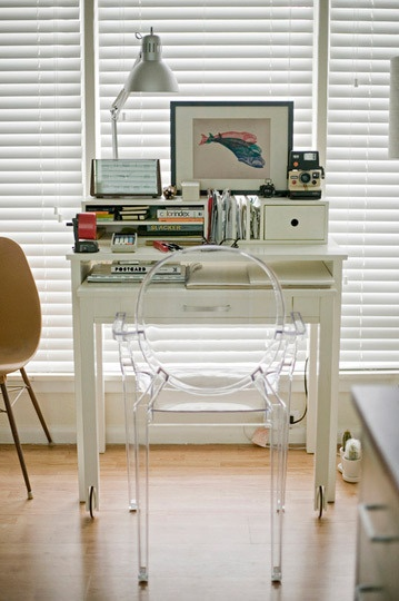 tiny desk space in a bedroom- pretty much the look I have in mind here, esp with the ghost chair!