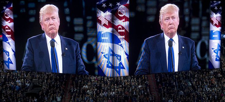 Donald Trump at an AIPAC conference. (photo: Saul Loeb/AFP/Getty Images)
