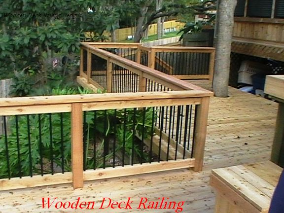 Deck idea porch railing wooden deck railing designs for Exterior deck design