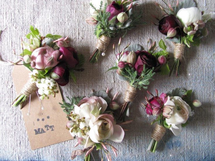 Cute corsages (buttonholes) designed by The Blue Carrot.  Click on the image to read Floret's interview with this UK-based designer.