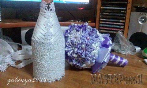 Свадебная композиция(букет невесты,бутылочки,бокалы)