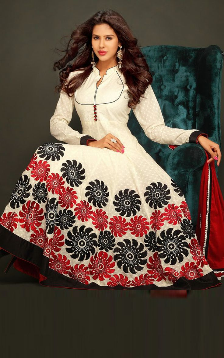 CREAM & RED COTTON ANARKALI SALWAR KAMEEZ - DIF 29711
