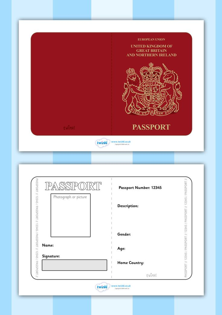 Twinkl Resources >> British Passport Template >> Printable resources for Primary, EYFS, KS1 and SEN.  Thousands of classroom displays and teaching aids! Topics, Travel, Role Play, Passport, Templates