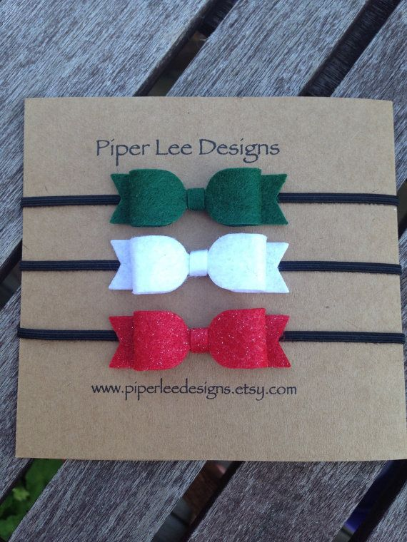 Christmas headband set baby headband felt bow by PiperLeeDesigns