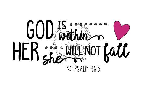 Basketball Softball Mom Valentines Love Psalm 46:5 God is within her She will not fall Automatic SVG Download by 2Queensandamachine on Etsy
