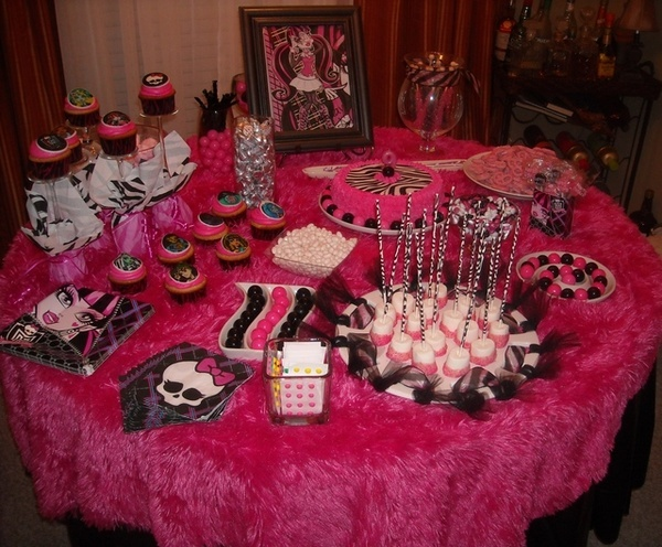 Monster High Birthday birthday-party-ideas. Love the picture on the back of the table!