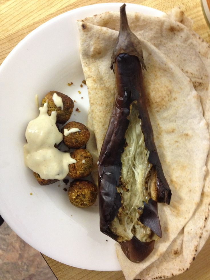 Eggplant with tahina, falafel