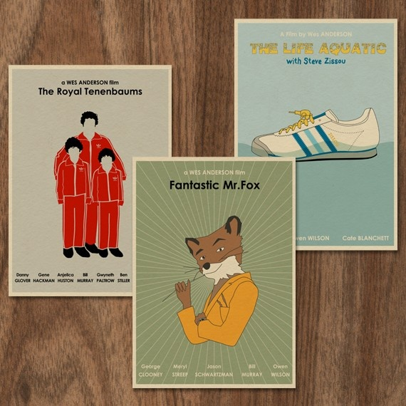 wes anderson illustration prints.