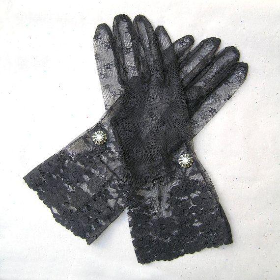 Schwarze Spitzen Handschuhe, Braut Spitze Handschuhe, schwarz Handschuhe, 1920er Jahre Handschuhe mit Strass Schmuck, Mode der 1920er Jahre, große Gatsby Schmuck, Opera Gloves