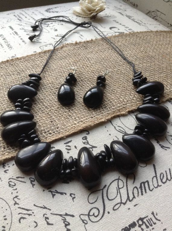 Tagua nut necklace made in Ecuador. Big bold chunky necklace. Black statement necklace and earring set