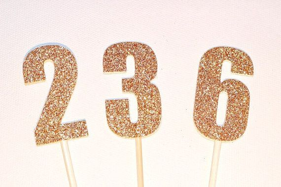 Number Cake Toppers/Cake Pokes. 5cm tall. Gold or Silver Glitter. Birthday - Anniversary.