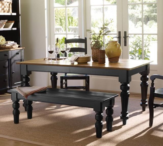 stained top black bottom kitchen table farmhouse look wood - Black Kitchen Table