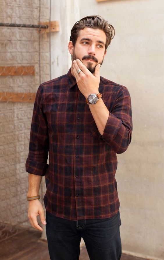 Flannel shirt with denim & watch. Also learn 5 Different Ways to Style Your Flannel Shirt — Mens Fashion Blog - The Unstitchd