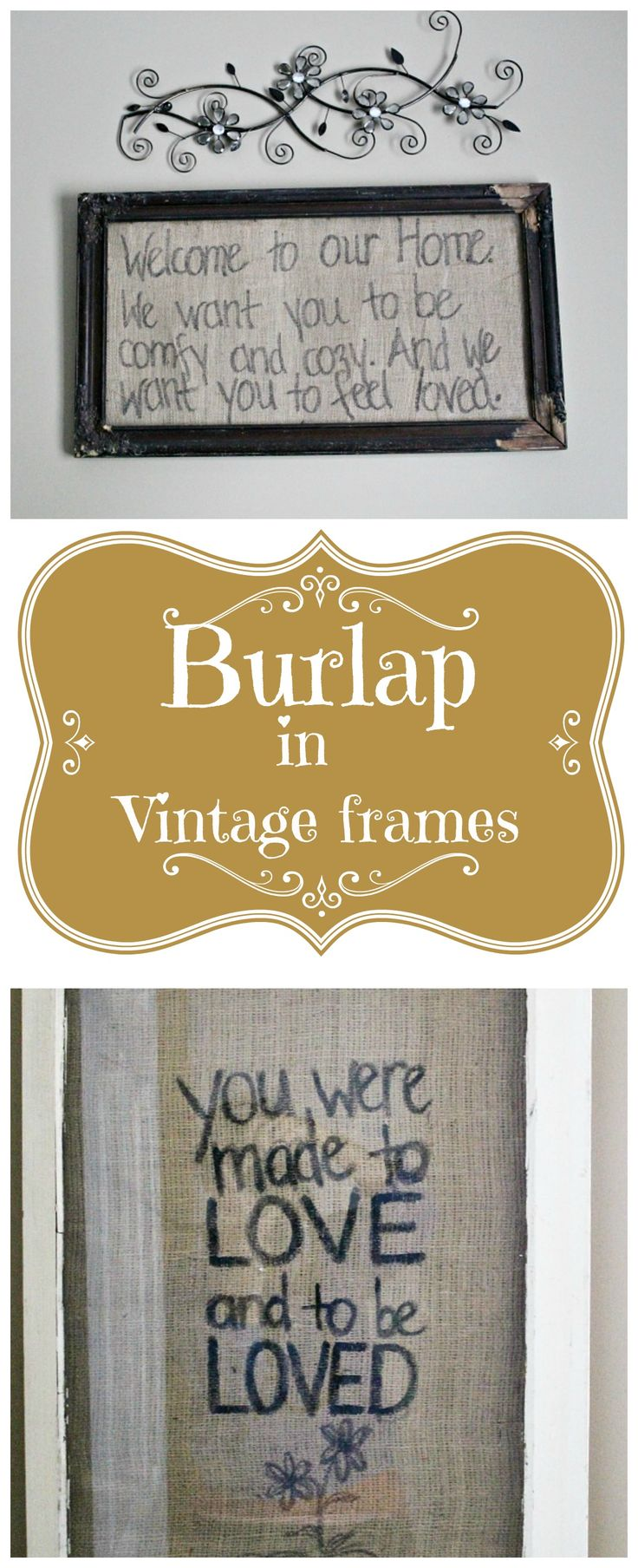 Framed #Burlap art and fresh decorating guest bedroom ideas.
