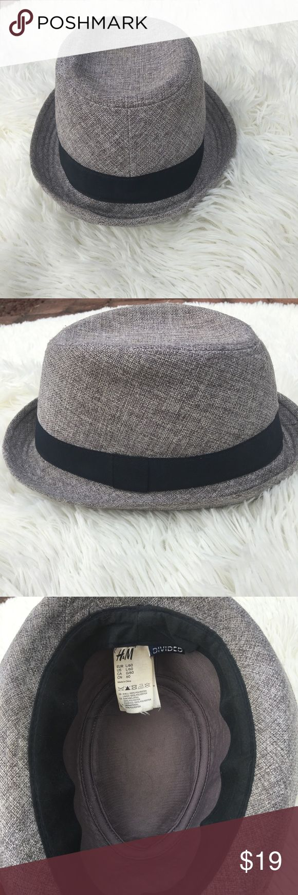 H & M grey divided fedora hipster Men's hat Preowned in very good condition with no noticeable rips tears or stains. Shell is 100% polyester. Size is a large/60. h & m Accessories Hats