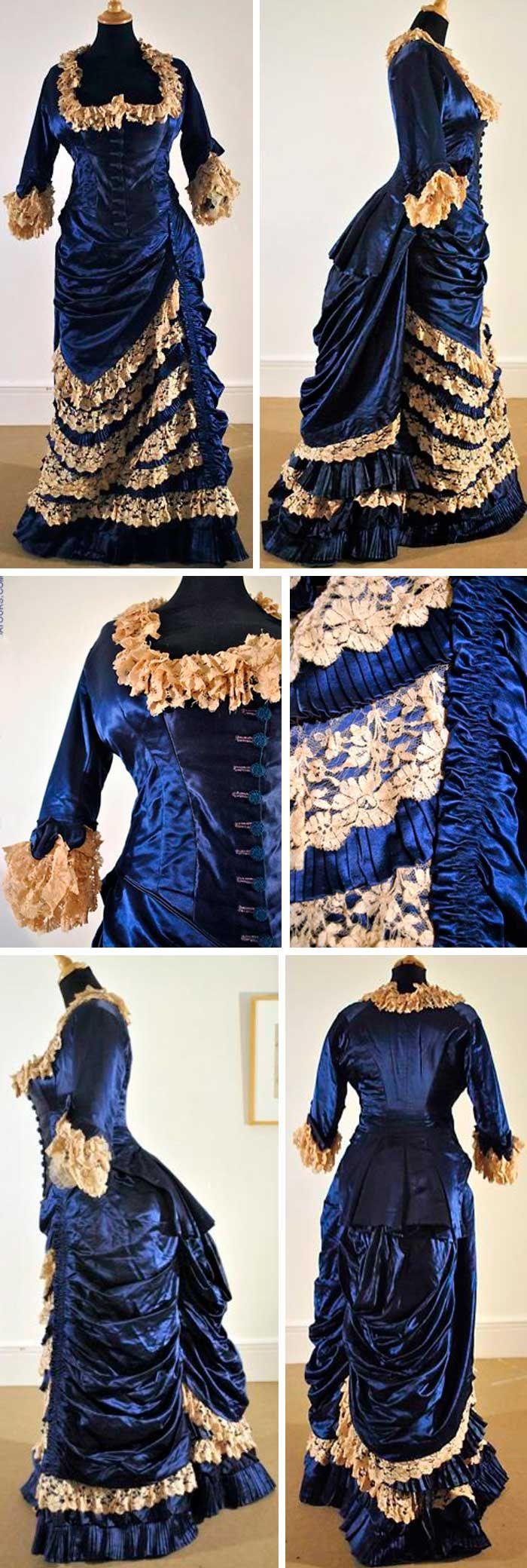 Robe de soirée, ca. 1885. Silk satin and blonde lace. La Dame d'Atours (historical collection)