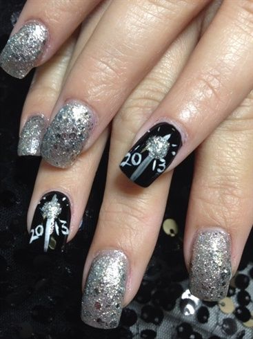New Years nails by jeanyeperez - Nail Art Gallery nailartgallery.nailsmag.com by Nails Magazine www.nailsmag.com #nailart