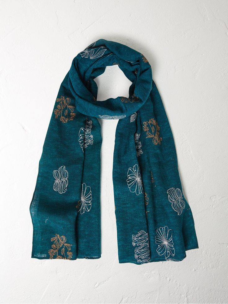 Floral feast embroidered scarf
