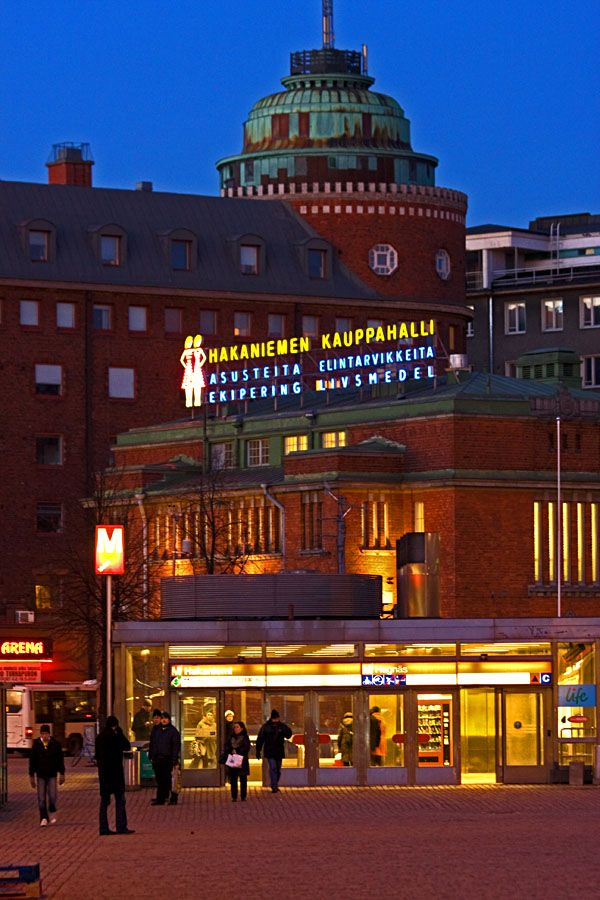 The entrance to the metro station and the market hall at Hakaniemi