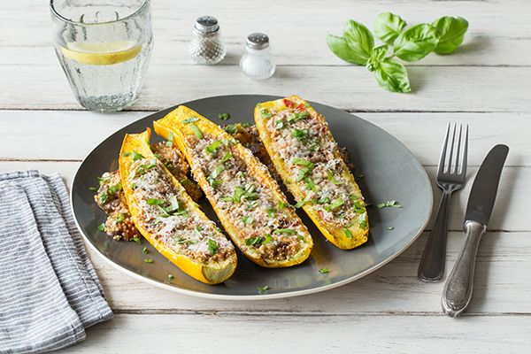 Stuffed Summer Squash Boats with Mushroom Duxelles, Quinoa, and ...