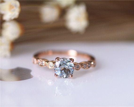 6mm redondo anillo aguamarina sólido 14K oro rosa por JulianStudio