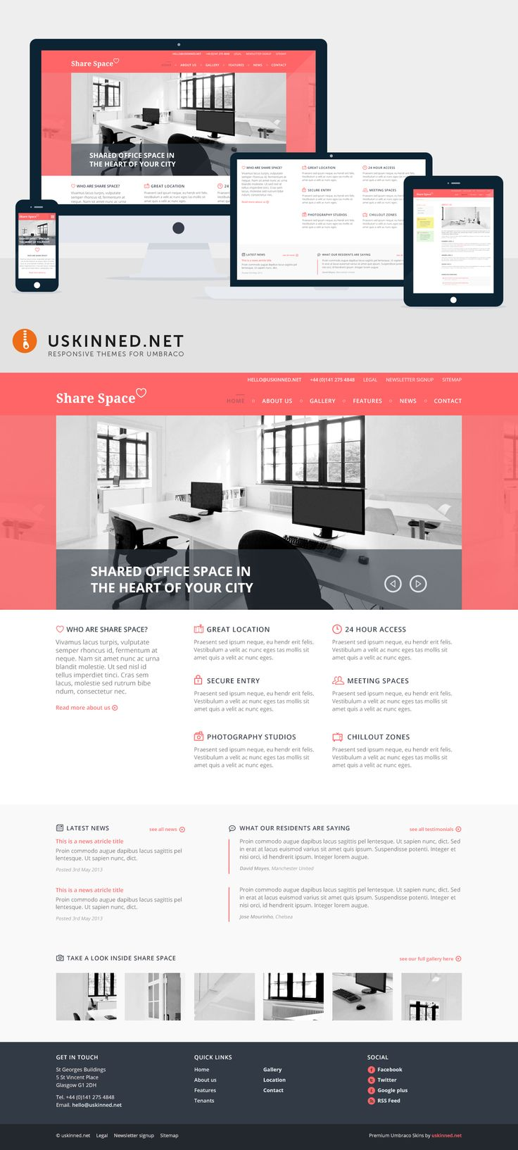 Share Space is a fully responsive business theme that will capture your imagination instantly. https://uskinned.net ... #responsive #umbraco #business #wordpress #themes
