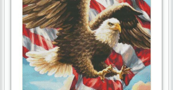 Patriotic Counted Cross Stitch Pattern #eagle #diy #etsy #chart #pattern #crossstitch #needlework #needlepoint #embroidery #patriotic #american #flag #bird
