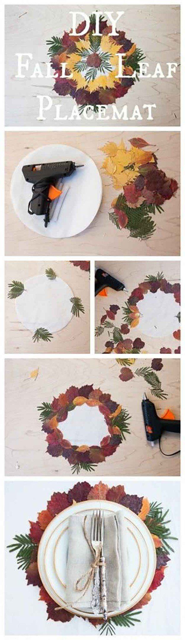 DIY Placemat With Actual Fall Leaves | 14 DIY Placemats for Thanksgiving, check it out at http://diyready.com/homemade-thanksgiving-decorations-14-diy-placemat-ideas