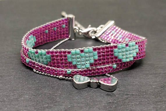 Valentine's day bracelet with two hearts/ Pink & turquoise