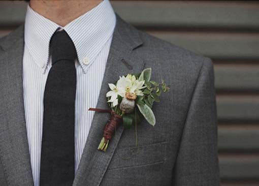 Inspirations, Boutonniere Featured White Chincherinchee And A Berry Sprig Wrapped In Leather.: Modern and romantic Australian Wedding of Nat...