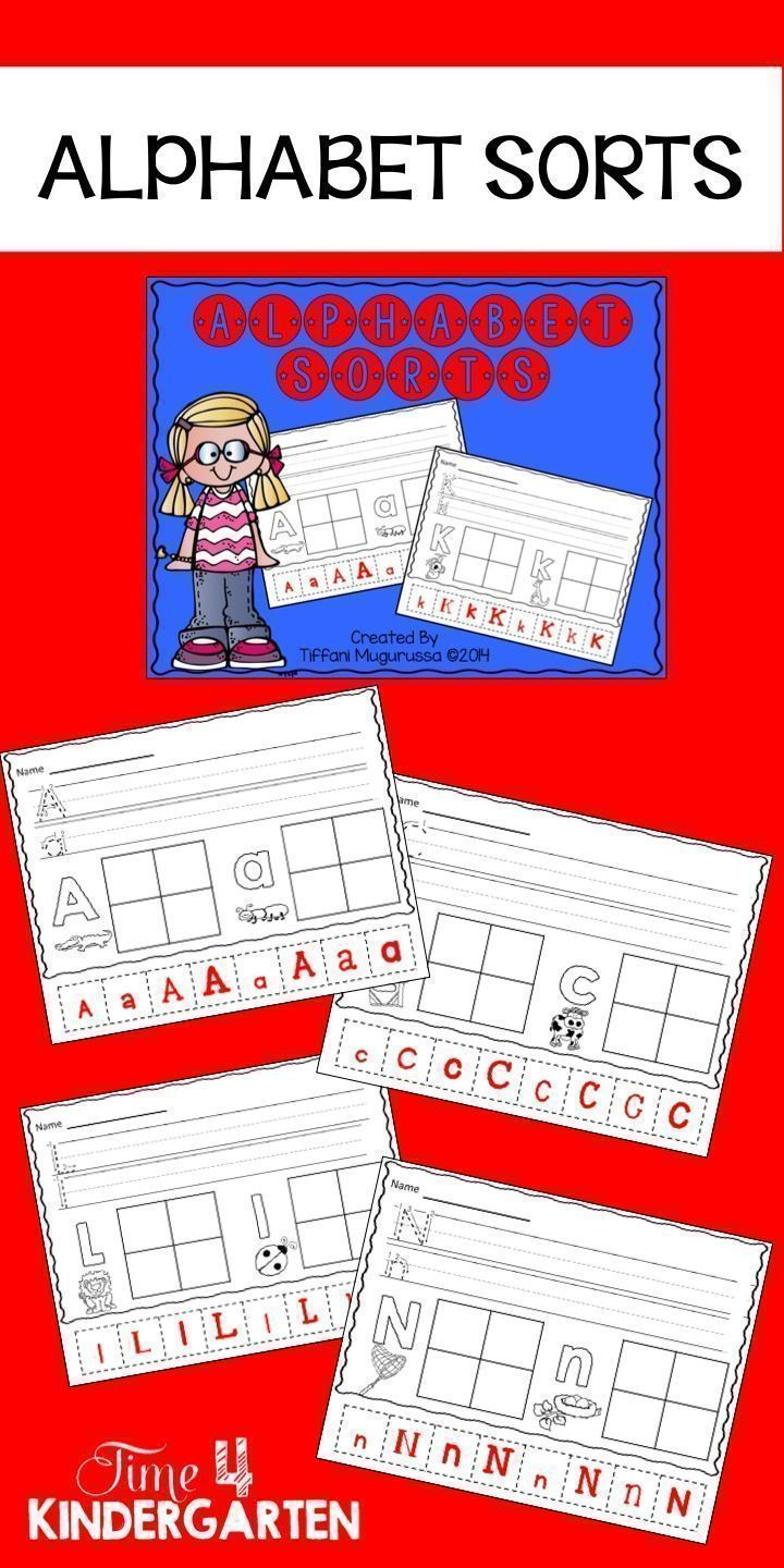 Alphabet Sorts for kindergarten.  Upper case and lower case letter discrimination. Great for back-to-school time, RTI and centers for the first month.