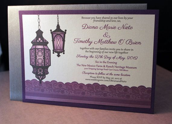 the lace and moroccan lanterns invitation hand by thefunkyolive 10000 - Lantern Wedding Invitations