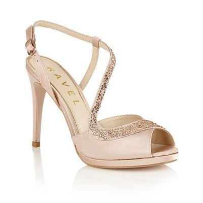 Ravel Champagne satin 'Fulton' heeled sandals- | Debenhams