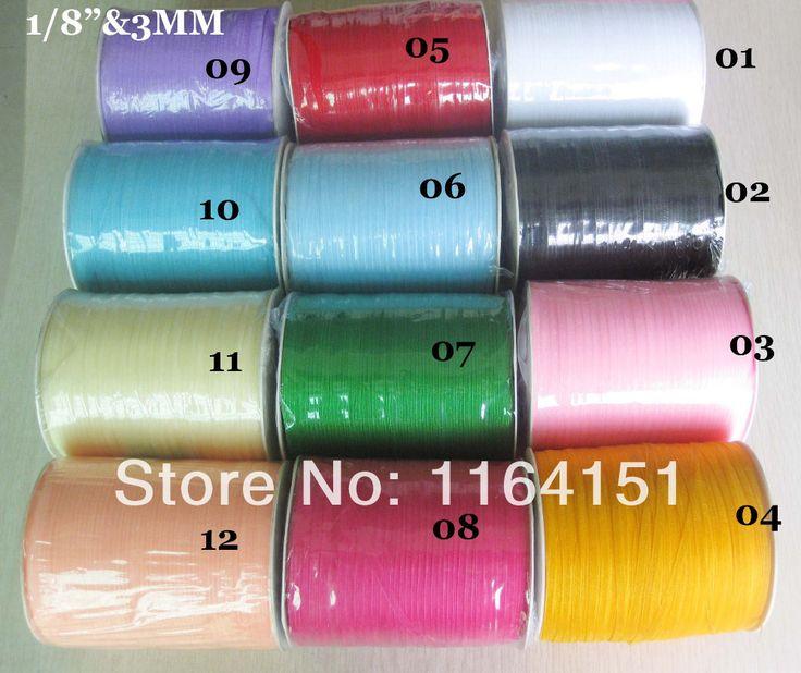 300 ярдов 1/8 3 мм Свадьба Craft Атласные Ленты многие виды цветов для выбора для упаковки аксессуары Бесплатная доставка