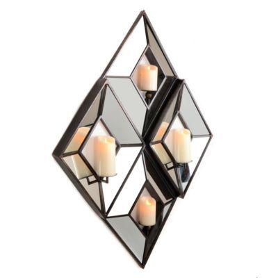 4-Pillar Mirrored Diamond Candle Holder   Kirklands
