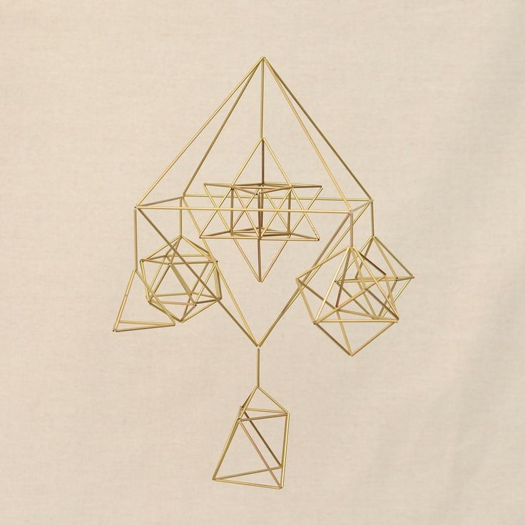 All Life Elements, Sacred Geometry Platonic Solids 3D Himmeli Hanging Brass Mobile Home Decor