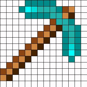 Minecraft Diamond Pickaxe Perler Bead Pattern | Perler Bead Patterns | Misc Fuse Bead Patterns