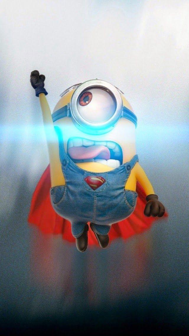 Super Minion iPhone wallpaper. Get free: https://1papeldeparedegratis.blogspot.com.br/2015/04/iphone-wallpaper-funny-minion-superman.html